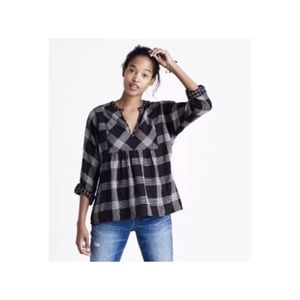 NWT Madewell Bourne Plaid Popover Blouse Small